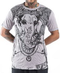 Sure Design Men's Big Face Ganesh T-Shirt Gray