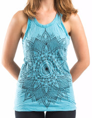 Sure Design Women's Lotus Mandala Tank Top Turquoise