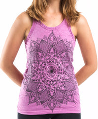 Sure Design Women's Lotus Mandala Tank Top Pink