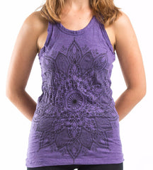 Sure Design Women's Lotus Mandala Tank Top Purple
