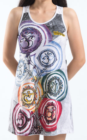 Mirror Sure Design Women's Chakra Tree Tank Dress White