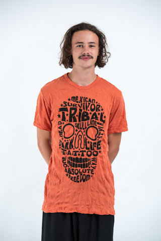 Sure Design Mens Tribal Skull T-Shirt Orange