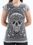 Wholesale Sure Design Women's Trippy Skull T-Shirt Gray - $8.00