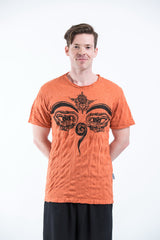 Sure Design Mens Buddha Eyes T-Shirt Orange