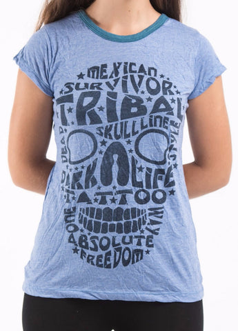 Sure Design Women's Tribal Skull T-shirt Blue