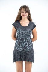 Sure Design Women's Ohm hands Dress Silver on Black