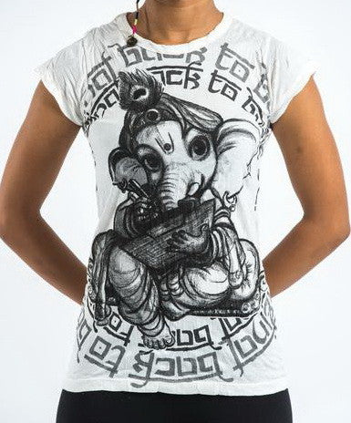 Sure Design Women's Baby Ganesh T-Shirt White