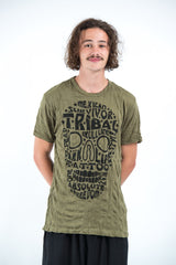 Sure Design Mens Tribal Skull T-Shirt Green