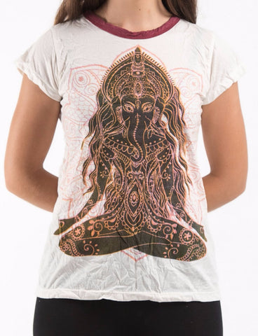 Sure Design Women's Ganesh Mantra T-shirt White