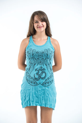 Sure Design Women's Ohm hands Tank Dress Turquoise