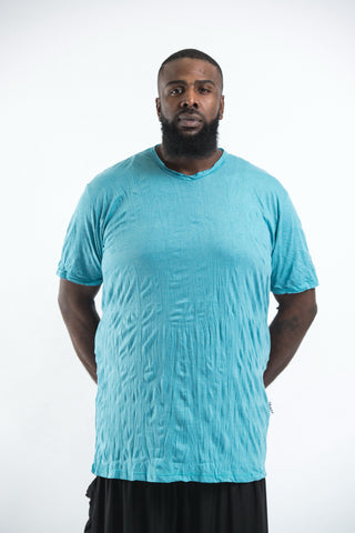 Plus Size Sure Design Men's Blank T-Shirt Turquoise