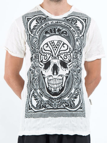 Sure Design Men's Trippy Skull T-Shirt White