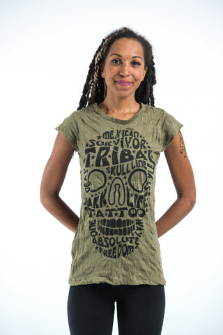 Sure Design Women's Tribal Skull T-Shirt Green