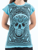 Wholesale Sure Design Women's Trippy Skull T-Shirt Turquoise - $8.00