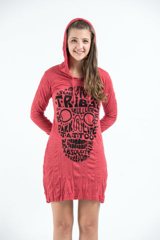 Sure Design Women's Tribal Skull Hoodie Dress Red