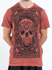 Sure Design Men's Trippy Skull T-Shirt Brick