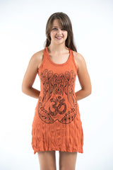 Sure Design Women's Ohm hands Tank Dress Orange