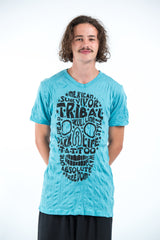 Sure Design Mens Tribal Skull T-Shirt Turquoise