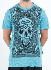 Sure Design Men's Trippy Skull T-Shirt Turquoise
