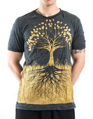 Sure Design Men's Tree Of Life T-Shirt Gold on Black