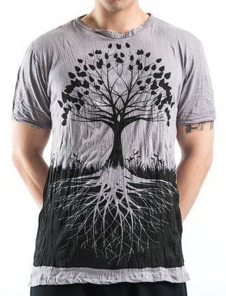 Sure Design Men's Tree Of Life T-Shirt Gray