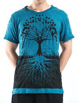 Sure Design Men's Tree Of Life T-Shirt Denim Blue