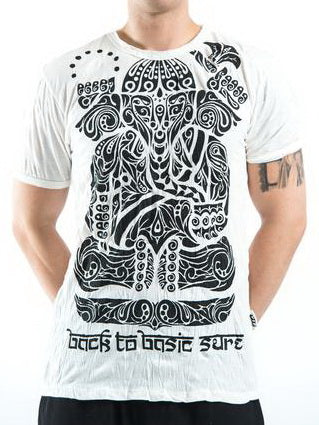 Sure Design Men's Tattoo Ganesh T-Shirt White