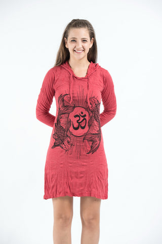 Sure Design Women's Ohm and Koi fish Hoodie Dress Red