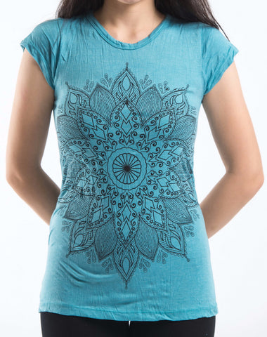 Sure Design Women's Lotus Mandala T-Shirt Turquoise