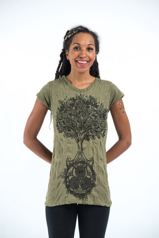 Sure Design Women's Celtic Tree T-Shirt Green