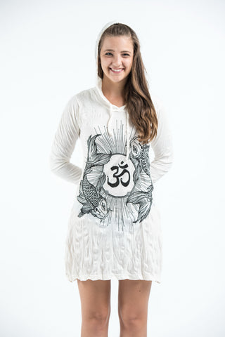 Sure Design Women's Ohm and Koi fish Hoodie Dress White