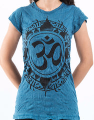 Sure Design Women's Infinitee Ohm T-Shirt Denim Blue