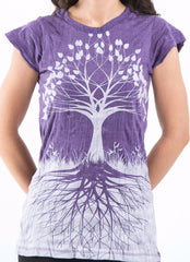 Sure Design Women's Tree Of Life T-Shirt Silver on Purple