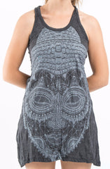 Sure Design Women's Buddha Head Tank Dress Silver on Black