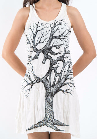Sure Design Women's Om Tree Tank Dress White