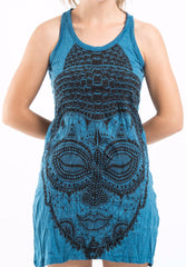 Sure Design Women's Buddha Head Tank Dress Denim Blue