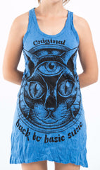 Sure Design Women's Three Eyed Cat Tank Dress Blue