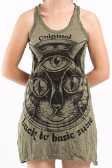 Sure Design Women's Three Eyed Cat Tank Dress Green