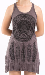 Sure Design Women's Dreamcatcher Tank Dress Brown