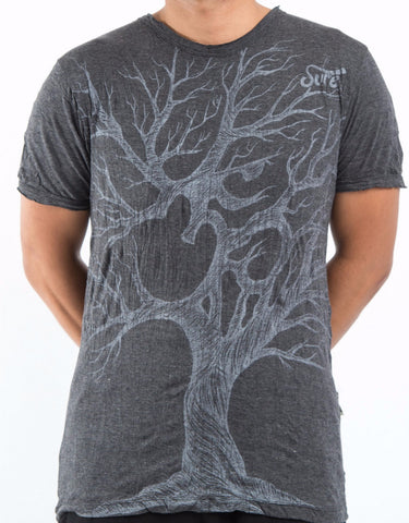 Sure Design Men's Ohm Tree T-Shirt Silver on Black