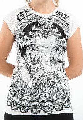 Sure Design Women's Batman Ganesh T-Shirt White