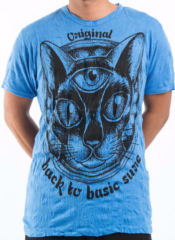 Sure Design Men's Three Eyed Cat T-Shirt Blue