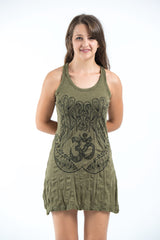 Sure Design Women's Ohm hands Tank Dress Green