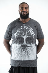 Plus Size Sure Design Men's Tree of Life T-Shirt Silver on Black