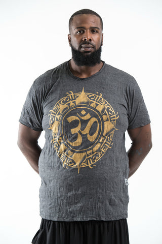 Plus Size Sure Design Men's Infinitee Ohm T-Shirt Gold on Black