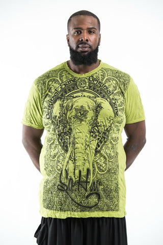 Plus Size Sure Design Men's Wild Elephant T-Shirt Lime