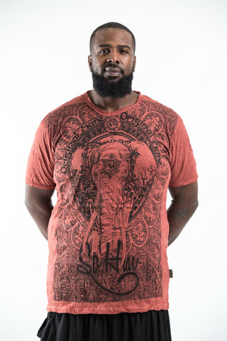 Plus Size Sure Design Men's Wild Elephant T-Shirt Brick