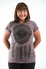 Plus Size Sure Design Women's Dreamcatcher T-Shirt Brown