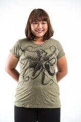 Plus Size Sure Design Women's Octopus T-Shirt Green