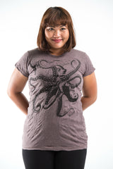 Plus Size Sure Design Women's Octopus T-Shirt Brown